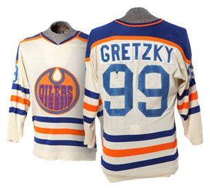 Number 5 artifact in the Original Hockey Hall of Fame collection - Wayne Gretzky's rookie jersey Edmonton Oilers