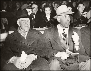Original Hockey Hall of Fame Founder Captain James T. Sutherland with then NHL President Clarence Campbell - Circa 1947